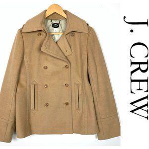 J. Crew Tan Beige Wool Double Breasted Pea Coat L